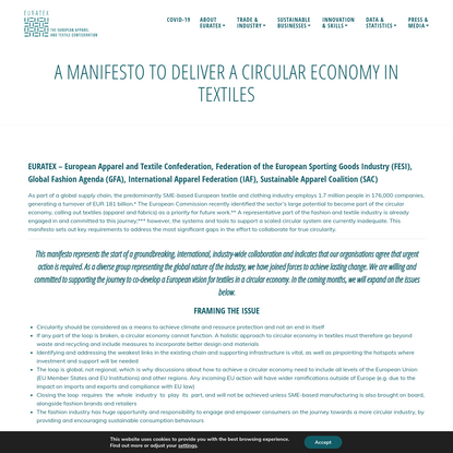 A MANIFESTO TO DELIVER A CIRCULAR ECONOMY IN TEXTILES - EURATEX