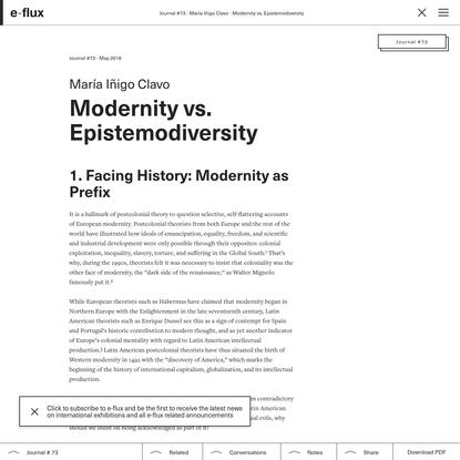 Modernity vs. Epistemodiversity