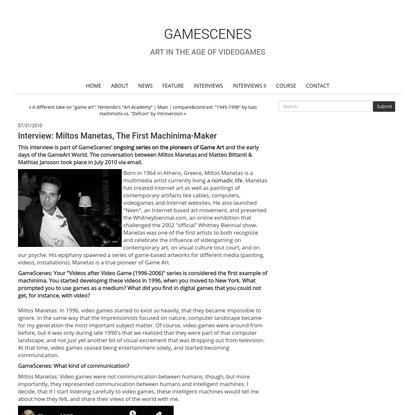 Interview: Miltos Manetas, the first machinima-maker