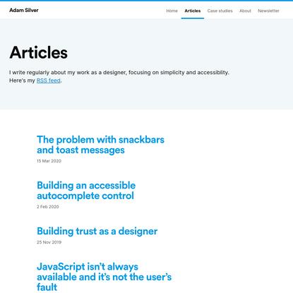 Articles | Adam Silver | Designer, London, UK.