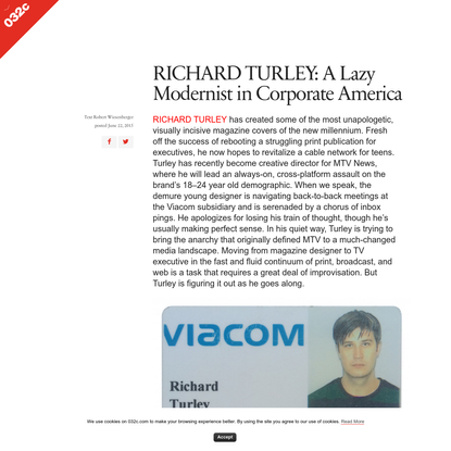 RICHARD TURLEY: A Lazy Modernist in Corporate America - 032c Workshop