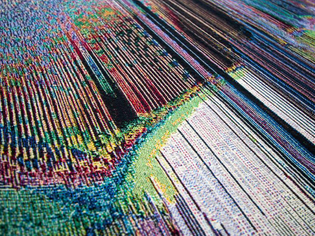Phillip Stearns uses electronics in his work, often mixing light and sound with traditional techniques such as of weaving