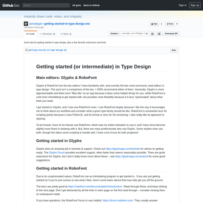 Some tips for getting started in type design, plus a few favorite extensions and tools · GitHub