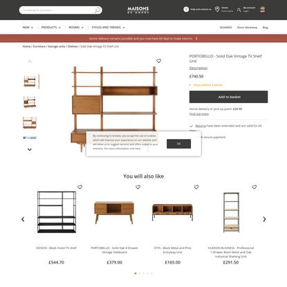 Solid Oak Vintage TV Shelf Unit Portobello   Maisons du Monde