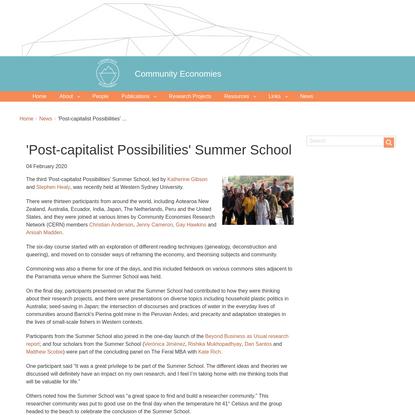 'Post-capitalist Possibilities' Summer School