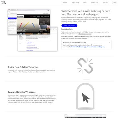 Webrecorder   Homepage
