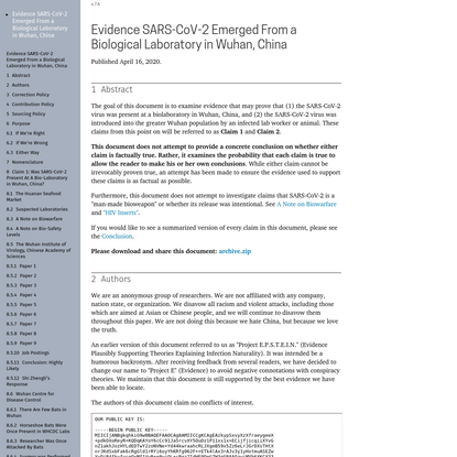 Evidence SARS-CoV-2 Emerged From a Biological Laboratory in Wuhan, China
