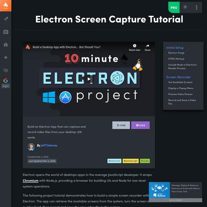 Electron Screen Capture Tutorial