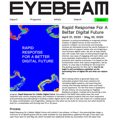 Open Call: Rapid Response For A Better Digital Future - Eyebeam