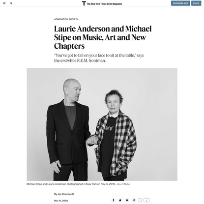 Laurie Anderson and Michael Stipe on Music, Art and New Chapters