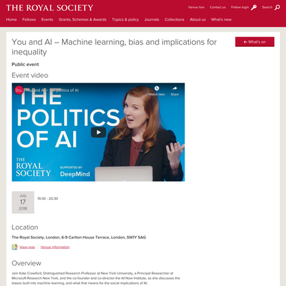 You and AI – Machine learning, bias and implications for inequality   Royal Society