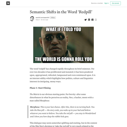Semantic Shifts in the Word 'Redpill'