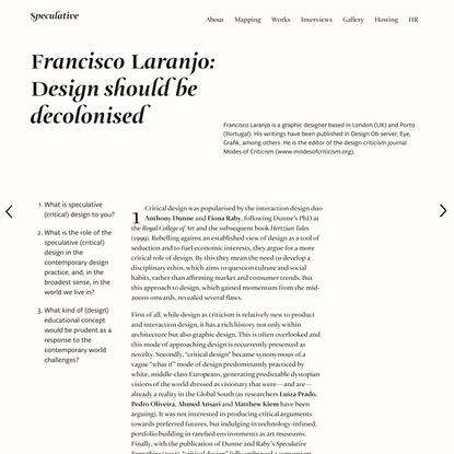 Francisco Laranjo: Design should be decolonised – Speculative