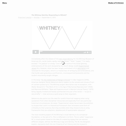 The Whitney Identity: Responding to W(hat)? | Modes of Criticism