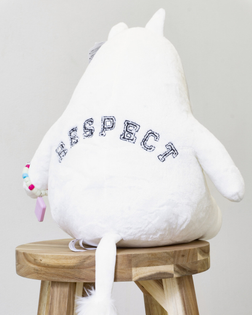 Jennifer Chan, Ally (Nice White Person), thread embroidery on Moomin stuff toy, 2018