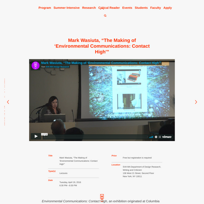 "Mark Wasiuta, ""The Making of 'Environmental Communications: Contact High'"" – SVA MA Design Research"