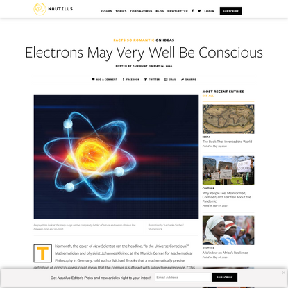 Electrons May Very Well Be Conscious - Facts So Romantic - Nautilus