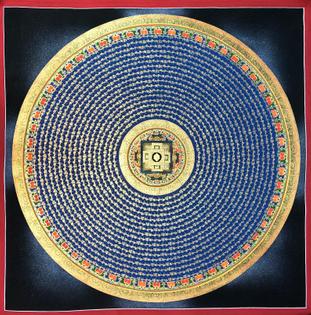 Tibetan Mantra Mandala Tibetan Thangka Painting - Handpainted in Nepal