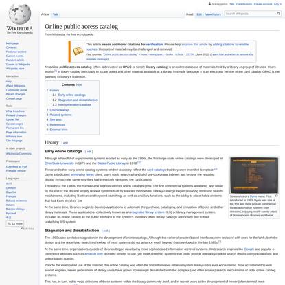 Online public access catalog - Wikipedia