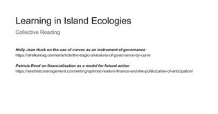 Learning in Island Ecologies - Collective Reading