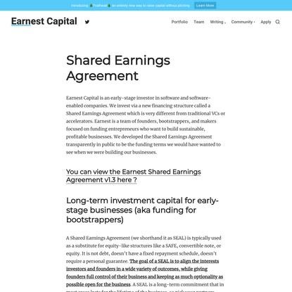 Shared Earnings Agreement | Early Stage Funding from Earnest Capital