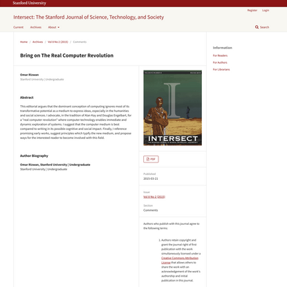 Bring on The Real Computer Revolution   Intersect: The Stanford Journal of Science, Technology, and Society