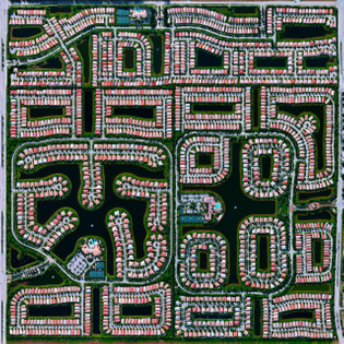 """""""This Overview shows residential development in Delray Beach, Florida. Because many cities in the state contain master-planned communities, often built on top of waterways in the latter half of the twentieth century, there are a number of intricate designs that are visible from above. According to the 2010 Census, 20.4% of the city's homes were vacant."""""""