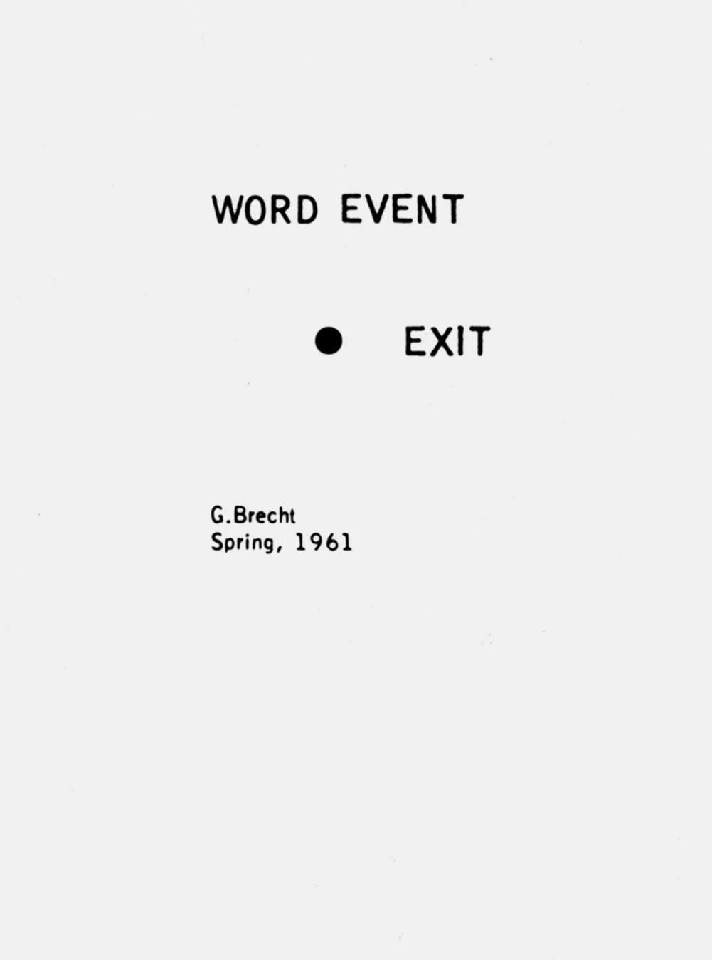 George Brecht, Exit