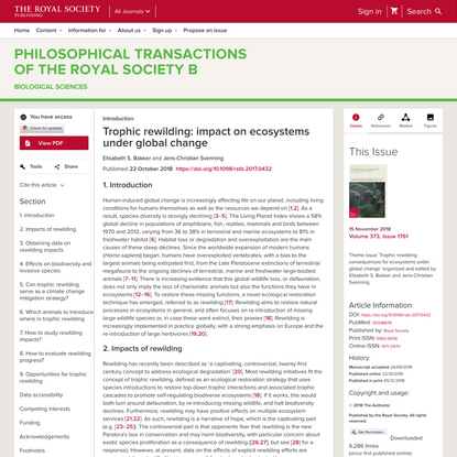 Trophic rewilding: impact on ecosystems under global change | Philosophical Transactions of the Royal Society B: Biological ...