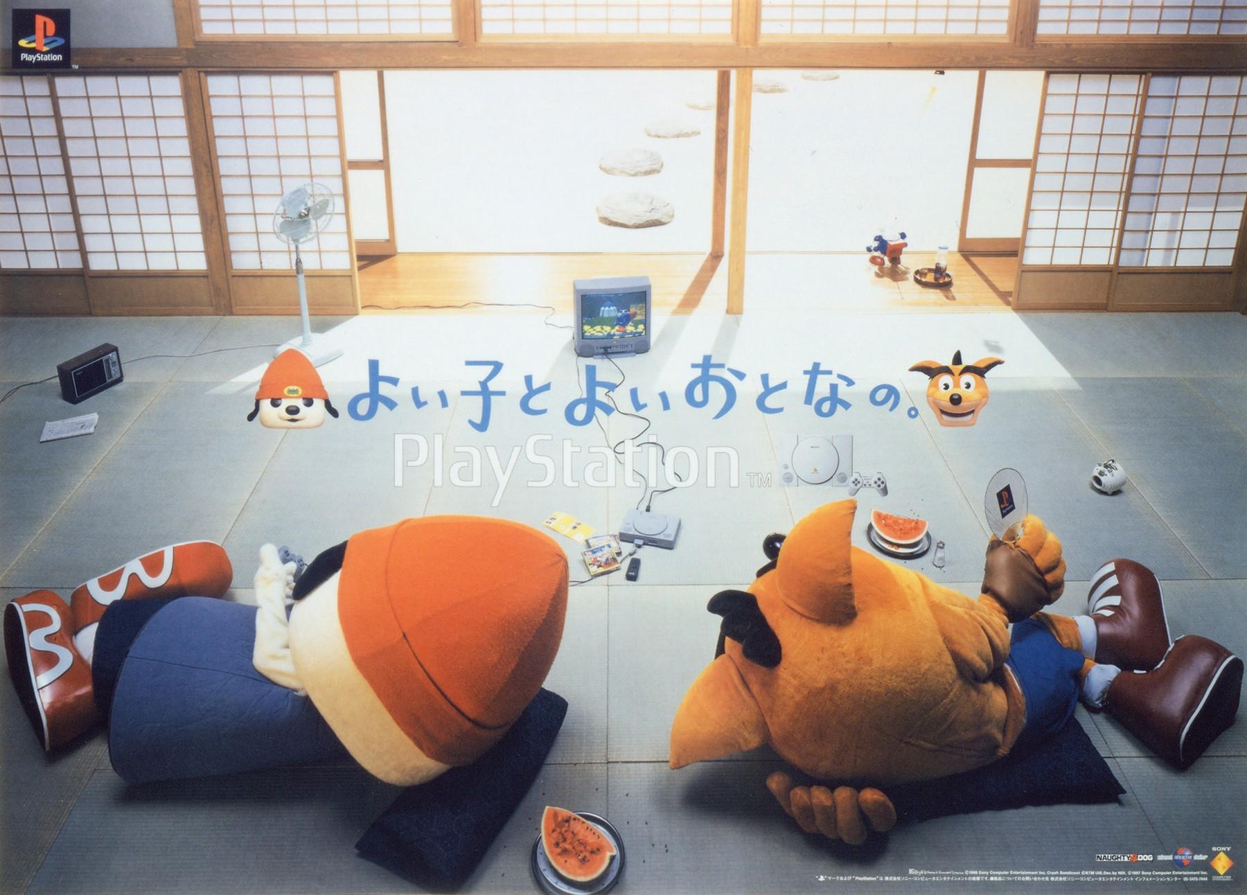 Japanese Parappa the Rapper and Crash Bandicoot ad