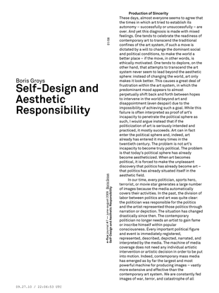 Boris Groys – Self-Design and Aesthetic Responsibility / e-flux Journal 6/2009
