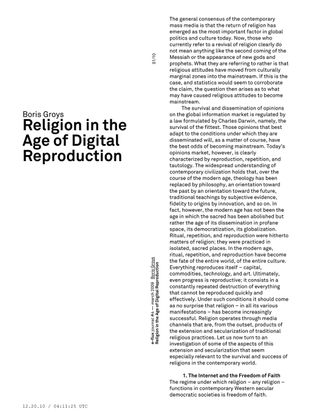 Boris Groys – Religion in the Age of Digital Reproduction / e-flux Journal 3/2009