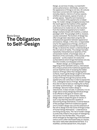 Boris Groys – The Obligation to Self-Design / e-flux Journal 11/2008
