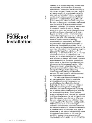 Boris Groys–Politics of Installation / e-flux Journal 1/2009