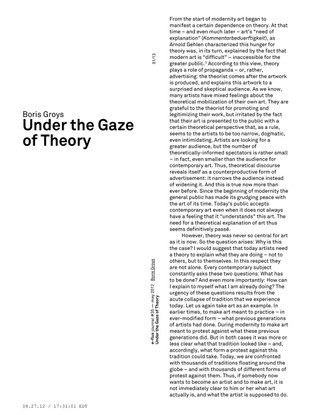Boris Groys – Under the Gaze of Theory / e-flux Journal 5/2012