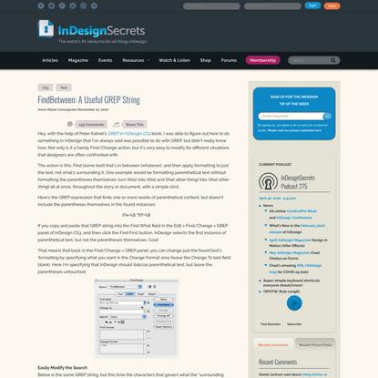 FindBetween: A Useful GREP String - InDesignSecrets.com
