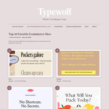 Top 40 Favorite Ecommerce Sites in 2020 · Typewolf