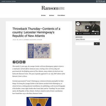 Throwback Thursday—Contents of a country: Leicester Hemingway's Republic of New Atlantis
