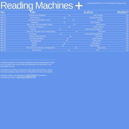 Reading Machines by Tiger Dingsun
