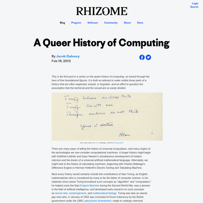 A Queer History of Computing