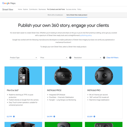 Publish your own 360 story. Select a Street View ready product.