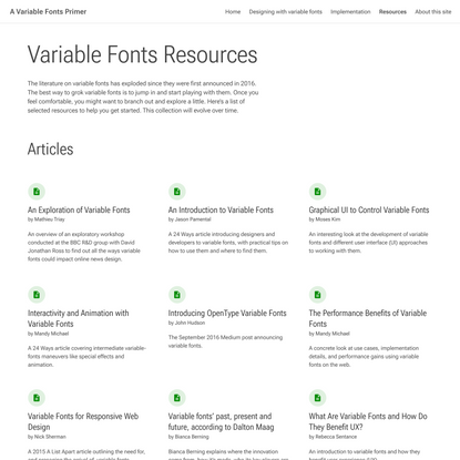 Variable Fonts Resources
