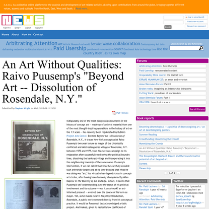 """An Art Without Qualities: Raivo Puusemp's """"Beyond Art -- Dissolution of Rosendale, N.Y."""" 