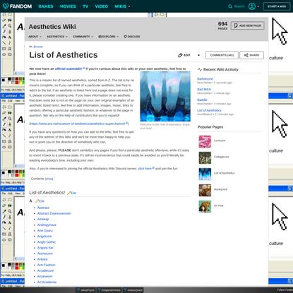 List of Aesthetics