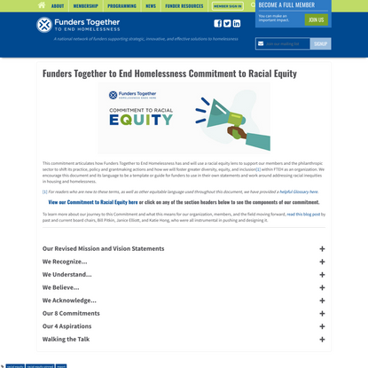 Funders Together to End Homelessness Commitment to Racial Equity