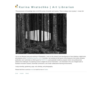 Karina Wratschko | Art Librarian