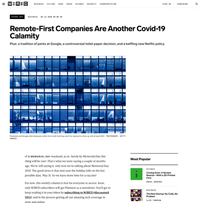 Remote-First Companies Are Another Covid-19 Calamity