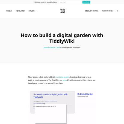 How to build a digital garden with TiddlyWiki