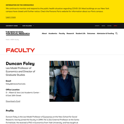 Duncan Foley | The New School for Social Research