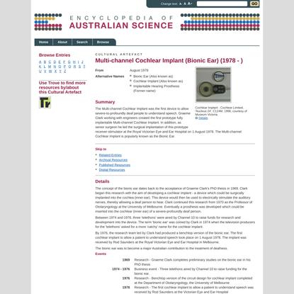 Multi-channel Cochlear Implant (Bionic Ear) - Cultural Artefact - Encyclopedia of Australian Science